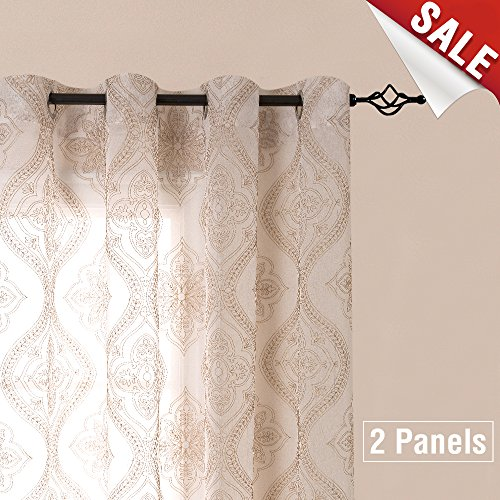 Embroidered Sheer Curtains Grommet Top 2 Panels W58 x L85 inch Damask Gold On White