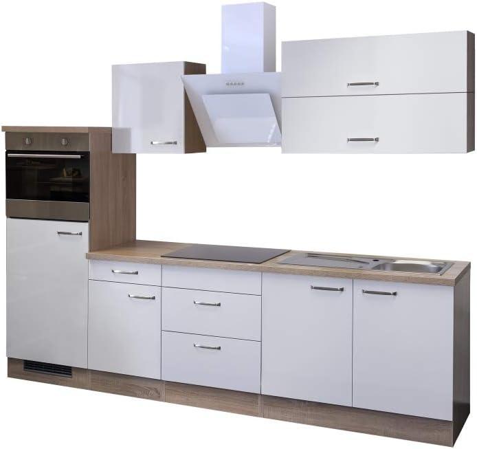 Smart Möbel Valencia - Bloque de Cocina (270 cm, Madera de Roble Sonoma, con frigorífico y Fregadero), Color Blanco Brillante: Amazon.es: Juguetes y juegos
