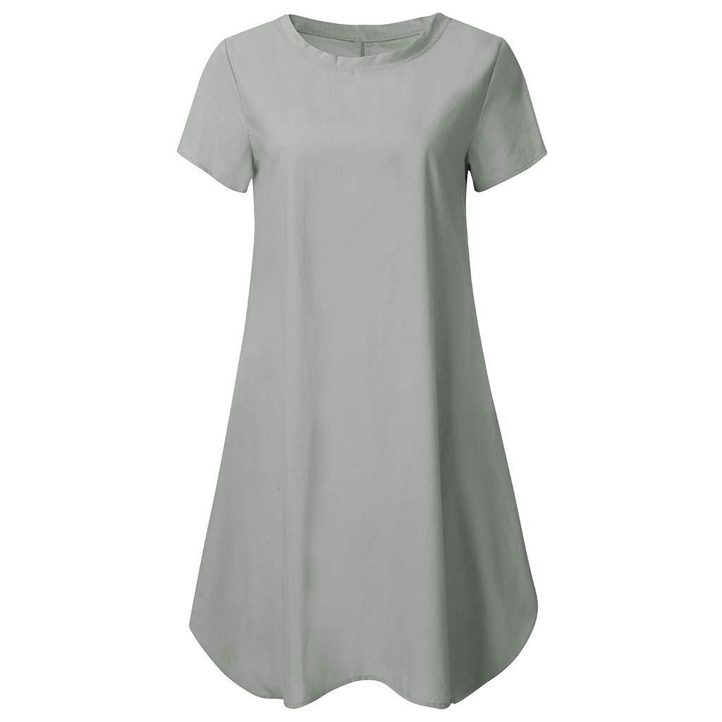 Funnygals Womens Oversized Dress Short Sleeve Tunic Dress Plus Size Shirt Dress Baggy Short Jumper Blouse T-Shirt