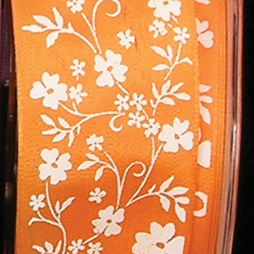 Orange with White Small Flower Print Taffeta Wired Craft Ribbon 1.5
