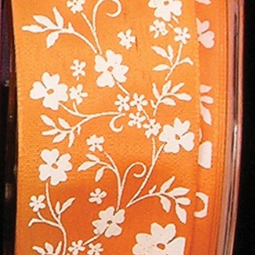 Orange with White Small Flower Print Taffeta Wired Craft Ribbon 1.5