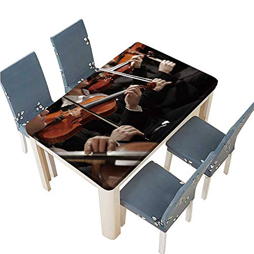 (PINAFORE Jacquard Polyester Fabric Tablecloth Symphony Music Violinist at Concert Hand Close up Suitable for Home use W73 x L112 INCH (Elastic Edge))