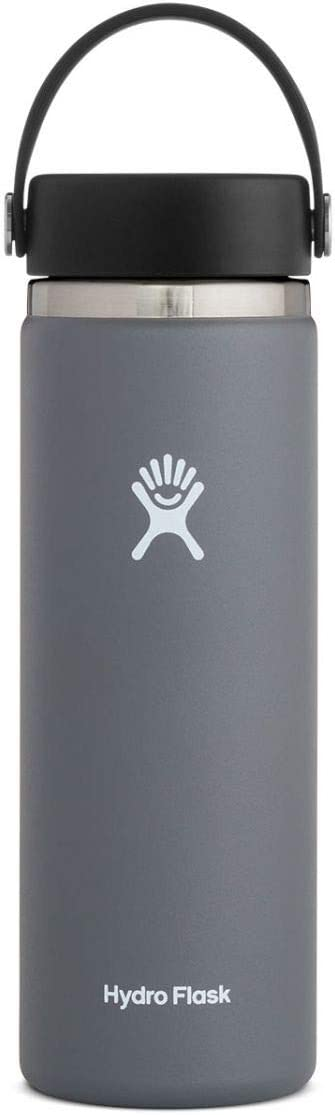 Hydro Flask Water Bottle - Stainless Steel & Vacuum Insulated - Wide Mouth 2.0 with Leak Proof Flex Cap - 20 oz, Stone
