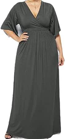 CuteRose Womens Skinny V Neck Plus-Size Empire Waist Long Cocktail Party Dress