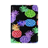 ALAZA Colorful Pineapple Fruit Black Leather Passport Holder Cover Case Travel One Pocket