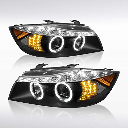 (Autozensation For BMW E90 3-Series 4Dr Black Halo LED Signal Projector Headlights Pair)