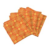 Damask Citrus Blossoms Bright Sunny Abstract Organic Sateen Dinner Napkins Solar Damask by Robyriker Set of 4 Dinner Napkins