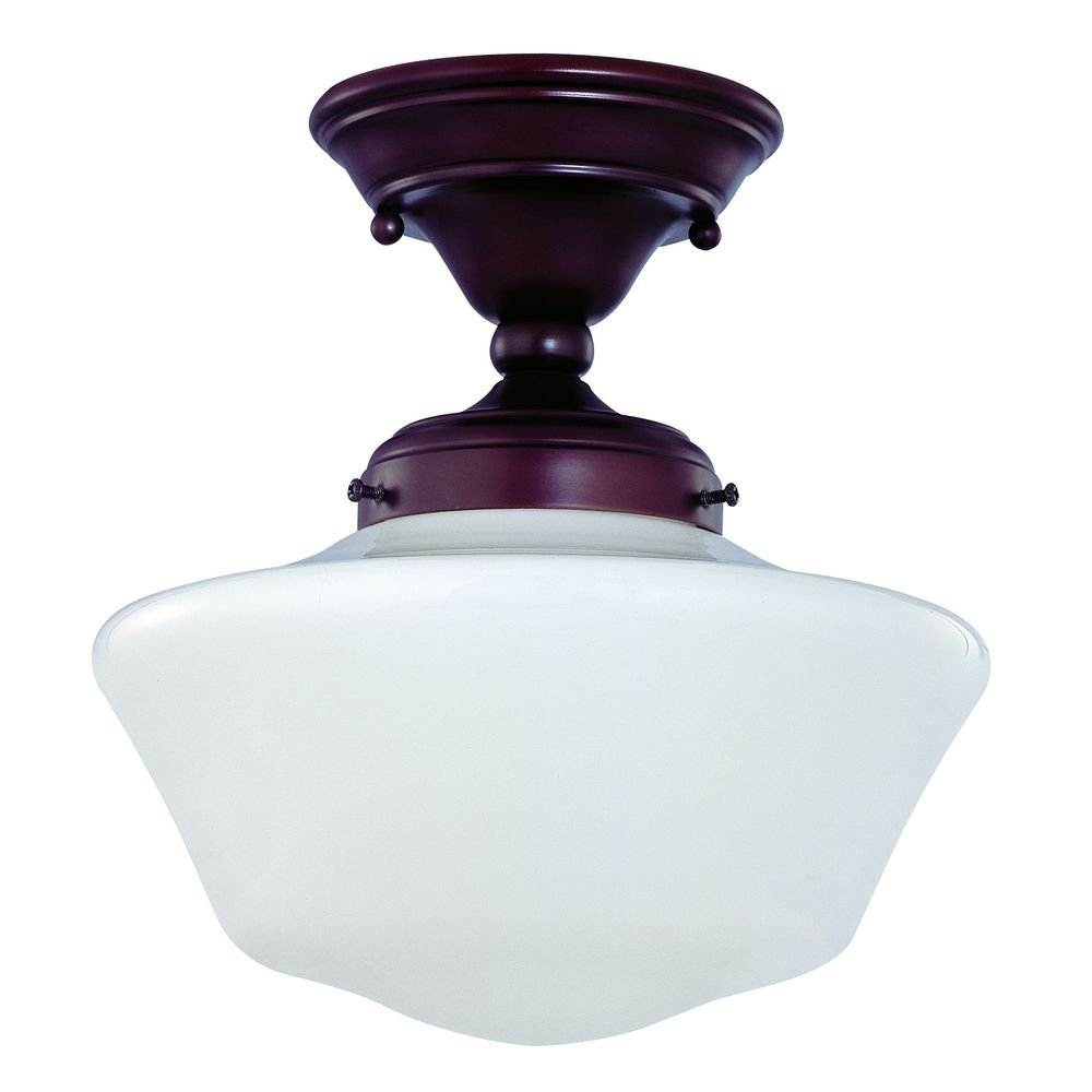 10-Inch Bronze Schoolhouse Ceiling Light - Semi Flush Mount Ceiling ...