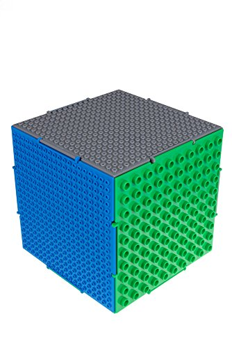 Strictly Briks The Cube 3D Building Brick & Storage Container Set Pat. Pending | Compatible with All Major Brands | 6 Square Plates | Double Sided for Large & Small Bricks (Green, Blue and Gray)