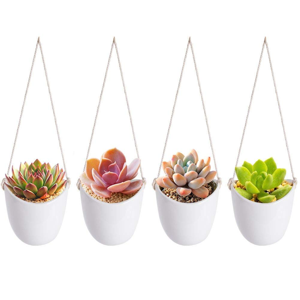 Hanging Succulent Plants, MLCINI Modern White Ceramic Wall Succulent Plant Pots with Rope, Set of 4