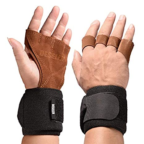 1eb4db6c5d Deselen Leather Fitness Lifting Gloves with Strong Gym Wrist Wrap, Pair(2)-