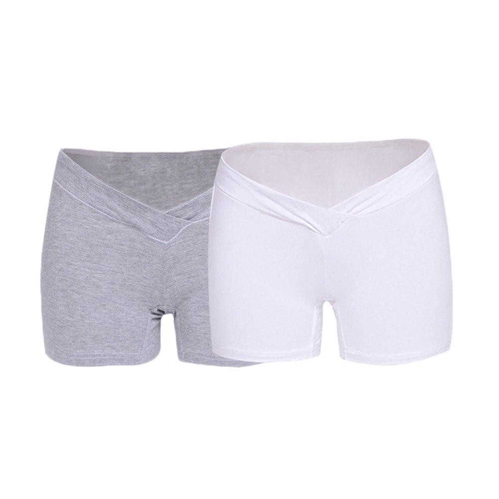 Pack of 2 Bmeigo Schwangerschaft Low Waist Unterhosen Umstandsslip mit Langen Beinen Unterw/äsche