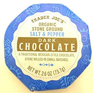 Trader Joe's Organic Stone Ground Salt & Pepper Dark Chocolate Traditional Mexican Style Chocolate Stone Milled in Small Batches
