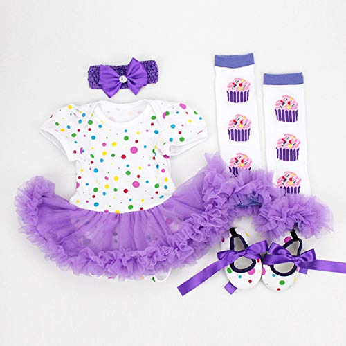 Reborn Baby Doll Clothes Outfit for 20-23 Inch Reborns Newborn Babies Matching Clothing Purple Dot Tutu Dress Four-Piece Set