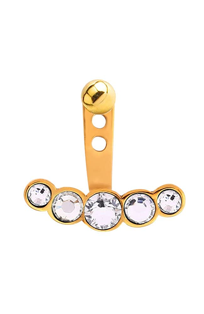 Nose Ring Bling Gold-Tone 316L Surgical Steel Clear 5 Stone Ear Jacket Earrings Choose Your Style /& Gauge