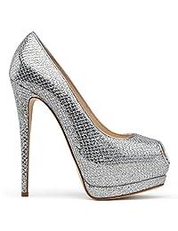 Amy Q Women's Peep Toe Platform High Heel Pumps Slip on Stiletto Heel Dress Shoes Size 4-15 US