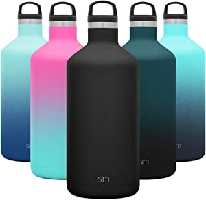 Simple Modern 64oz Ascent Water Bottle - Hydro Vacuum Insulated Growler Tumbler Flask w/Handle Lid - Half Gallon Leakproof Chug Jug Double Wall Stainless Steel Reusable -Midnight Black