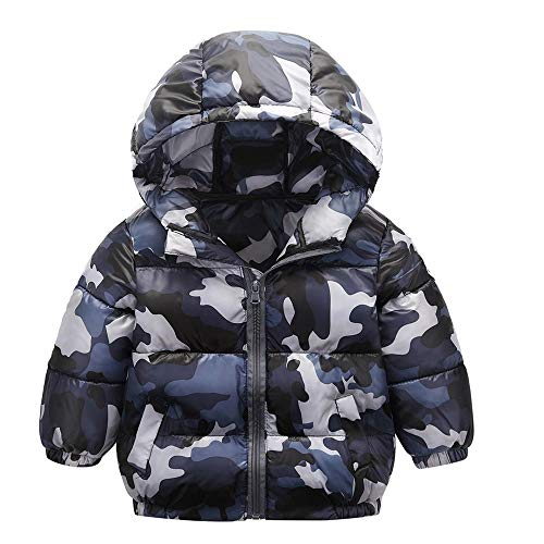 Hattfart Toddler Baby Boys Autumn Winter Down Jacket CamouflageCoat Warm Padded Thick Outerwear Clothes (Gray, 90)