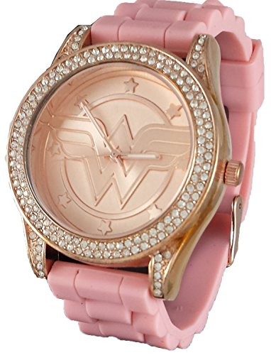 (Wonder Woman Rhinestone Accented Rose Gold Tone Watch with Pink Rubber Strap)