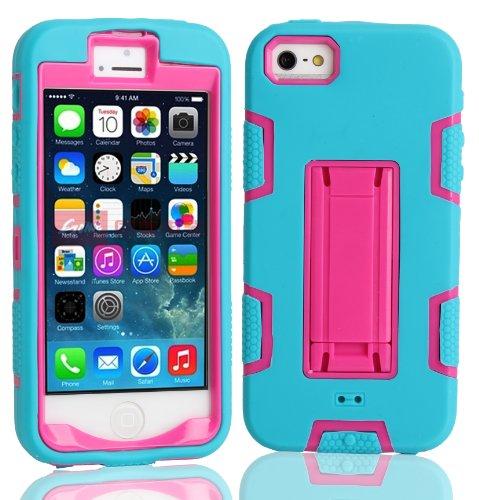 iPhone 5 5S SE Shockproof Custodia,Heavy Duty Rosa Blu PU & PC Urti Assorbimento Case Robusto Back Paraurti Caso Armatura ibrida Kickstand Protettiva Case Shell Cover per iPhone 5 5S SE