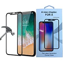 iPhone X Glass Screen Protector,Luhuanx 4D Full Coverage [9H Hardness] [HD Clear] Tempered Glass Screen Protector Bubble-Free Anti-Scratch Protective Film for iPhone X,iPhone 10 Screen (Black new)