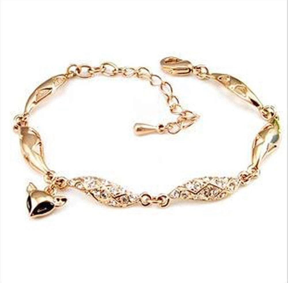MADALENA SARARA American Fashion Rose Gold Tone Inlaid Zircon Bracelet with Charm Pendent Ajustable Chain