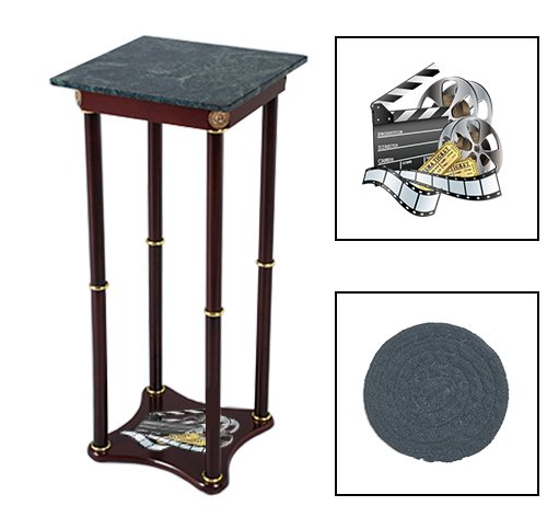 Square Green Marble Bottom Accent Table Featuring the Choice of Your Favorite Novelty Themed Logo on the Bottom Shelf! FREE Coaster Included! (Movie Reel)