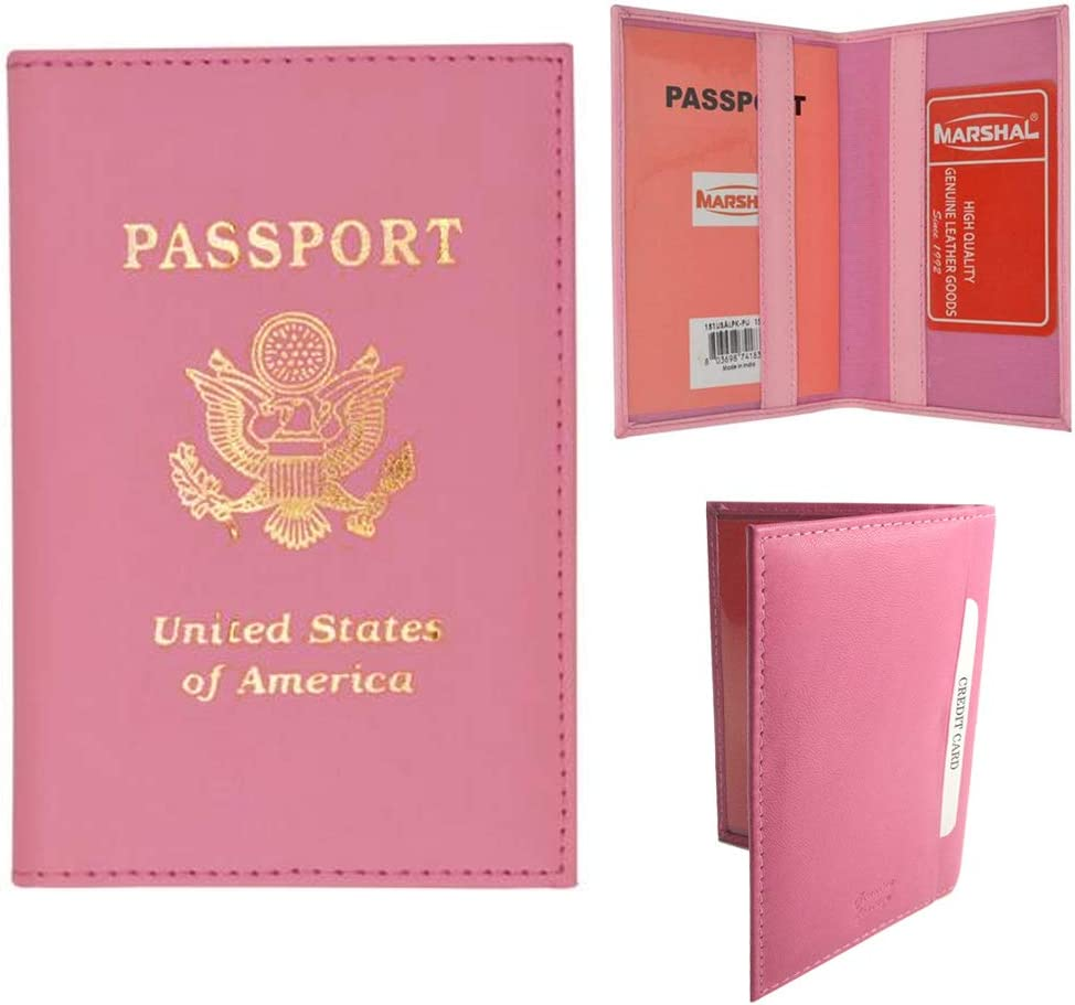 Real Leather Passport Holder Pink
