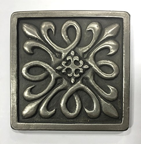 Decorative Insert Tile Flooring (Silver Metallic Nickel 4x4 Resin Decorative Insert Accent Piece Tile)