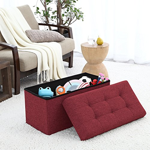 Rectangle Storage Ottoman (Ellington Home Foldable Tufted Linen Large Storage Ottoman Bench Foot Rest Stool/Seat - 15