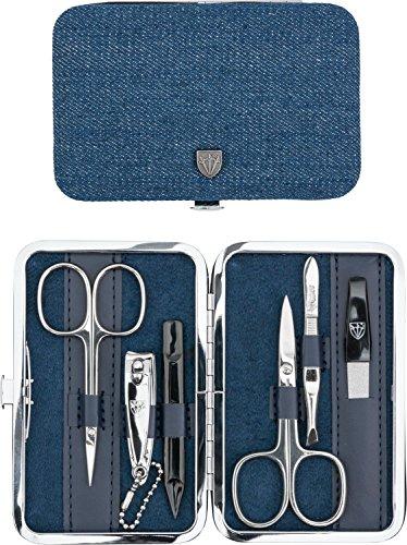 Drei Schwerter   Exklusives 6-teiliges Maniküre - Pediküre - Nagelpflege-Set / Etui   Qualität - Made in Solingen (725202) - NEU: Auf vielfachen Kundenwunsch zusätzlich bestückt mit einer Nagelschere!