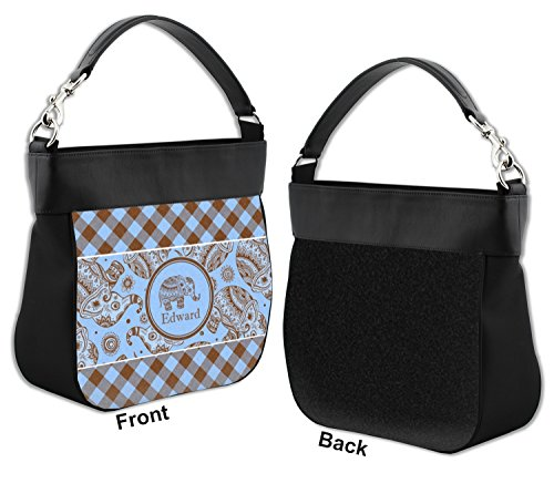 Genuine amp; Hobo Gingham Front w Elephants Purse Trim Leather Personalized X44xdU