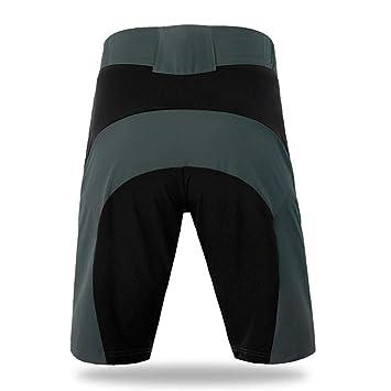 AIYL Pantaloncini Larghi da Uomo per Bici//MTB con Rivestimento Imbottito Staccabile in Gel 3D Coolmax Grey-S