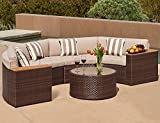 Solaura Outdoor 5-Piece Half-Moon Crescent Sectional Furniture Set All Weather Brown Wicker with Light Brown Waterproof Cushions & Sophisticated Glass Coffee Table   Patio, Backyard, Pool