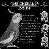 Personalized Pet Bird Memorial 12''x12'' Engraved Black Granite Grave Marker Head Stone Plaque BUC1