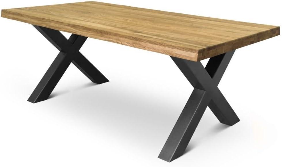 COMIFORT Mesa de Comedor - Mueble para Salon Oficina Despacho Robusto y Moderno de Roble Macizo Color Ahumado con Lado Ondulado, Patas de Acero X-Forma Grafito (200x100 cm)