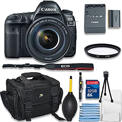 Canon EOS 5D Mark IV Digital SLR Camera with EF 24-105mm f/4L IS II USM Bundle includes Camera, 32GB Memory Card, UV Filter, Bag, Cleaning Kit - International Version