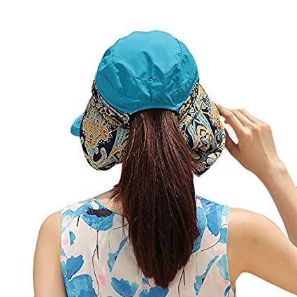 01fc847eb71dc Deevoov Sun Hat Wide Brim Roll Up Visor Hats 360°Solar UV Protection UPF  50+ Folding Removable Neck Face Mask Head Flap Cover Caps for Men Women  Outdoor ...