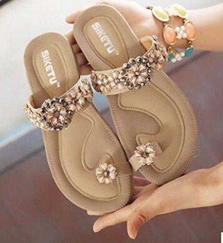 avec fille sandale abricot plat Bohême été femmes flip perles Sandales dames Flops Ohmais Flattie Tongs EWFP4qFH