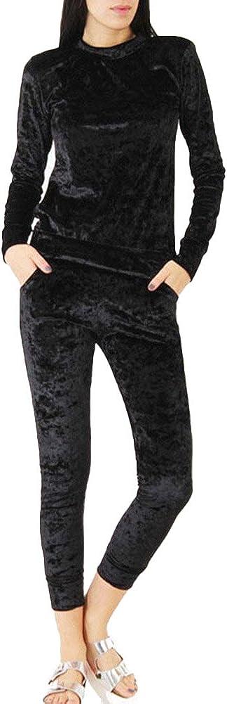 Jogging Bottoms Outfit Sport Lounge Wear Women Velvet Crushed Velour Tracksuit Cuffed Sleeve Sweatshirt