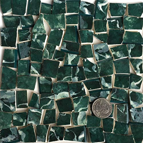 Mosaic Art & Craft Supply ~ Green Marble Pattern China Tiles (B075) ()