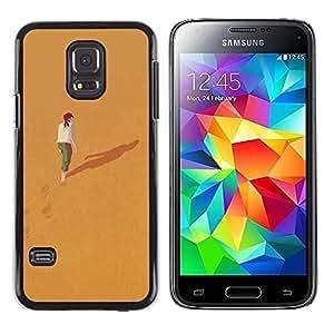 FECELL CITY // Duro Aluminio Pegatina PC Caso decorativo Funda Carcasa de Protección para Samsung Galaxy S5 Mini, SM-G800, NOT S5 REGULAR! // Alone Deep Meaning Girl Redhead