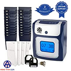 The AT-4500 Calculating time clock will add up regular and overtime hours worked right on employee's time card; it accommodates up to 50-employees. There are no buttons for the employee to push when clocking in or out; running daily and pay p...