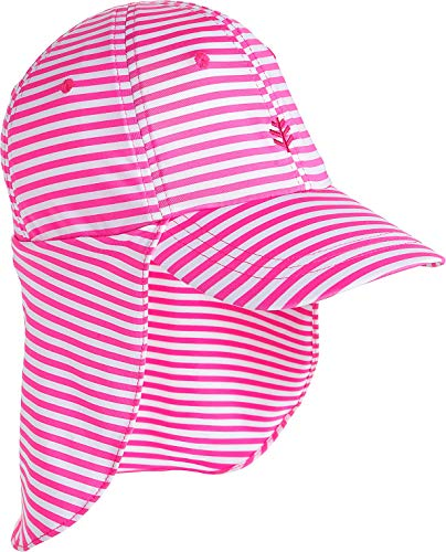 Coolibar UPF 50+ Kids' Surfs Up All Sport Hat - Sun Protective (Small/Medium- Aloha Pink/White Stripe)