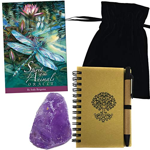 HuntGirl Gifts Spirit of The Animals Oracle Deck Set with, Guidebook, Velvet Bag, Amethyst Crystal & Journal with Pen