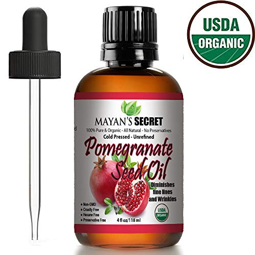 Organic Pomegranate Seed Oil for Skin Repair - Cold Pressed and Pure Rejuvenating Oil for Skin, Hair and Nails