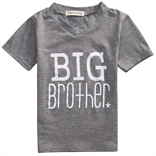 Gaono Newborn Baby Boys Romper Toddler Boys Tops Shirt Big Brother & Little Brother Outfits Set Clothes (130(5-6T), Big Brother)