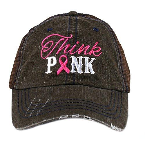 Katydid Think Pink Breast Cancer Awareness Ribbon Women's Trucker Hat Cap