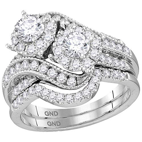 Jewel Tie - Size 5.5 - Solid 14k White Gold Round Diamond 2-Stone Halo Bridal Wedding Engagement Ring Band Set 1-1/2 Cttw. Certified