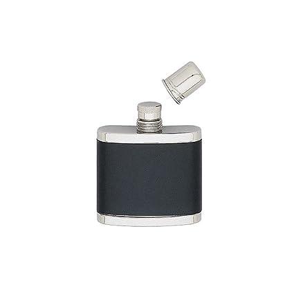 Compra Petaca acero inoxidable corrugado piel negro con vaso ...